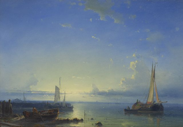 Abraham Hulk | Moored fishing boats at sunset, oil on panel, 25.0 x 36.1 cm, signed l.r.