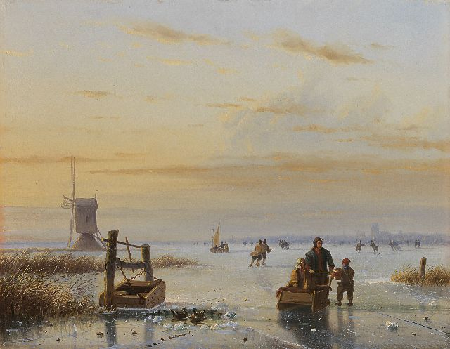 Nicolaas Johannes Roosenboom | Skaters on a frozen river, oil on panel, 32.9 x 42.5 cm, signed l.r.