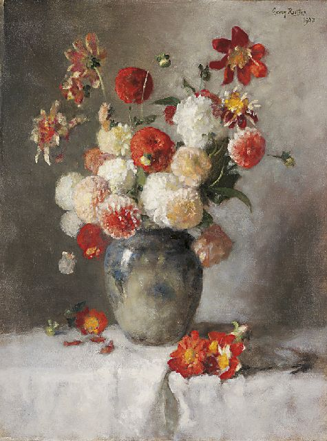Georg Rueter | Dahlias, oil on canvas, 85.0 x 64.5 cm, signed u.r. and dated 1958