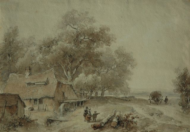 Andreas Schelfhout | Landscape with figures near a watermill, pen, ink and watercolour on paper, 25.4 x 36.5 cm, signed l.l.