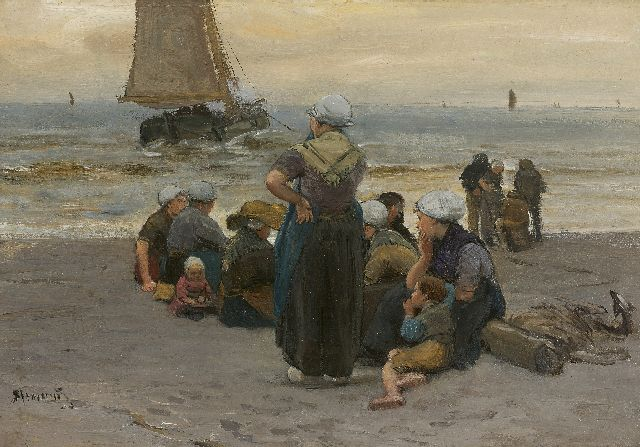 Bernard Blommers | The fishing fleet setting out for sea, oil on panel, 20.7 x 30.1 cm, signed l.l.