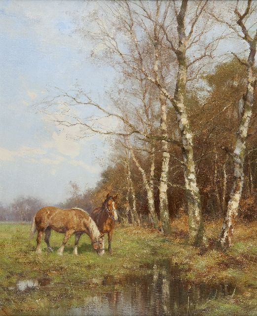 Jan Holtrup | Workhorses in a landscape, Groesbeek, oil on canvas, 60.1 x 50.2 cm, signed l.l.