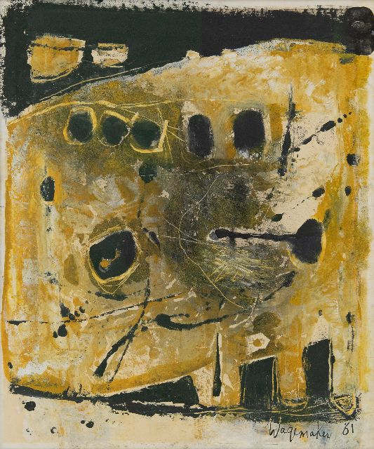 Wagemaker A.B.  | Abstract in oker and zwart, mixed media on paper 54.0 x 44.5 cm, signed l.r. and dated '61