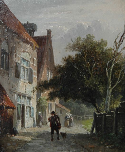 Adrianus Eversen | A man and dog in a sunny village street, oil on panel, 12.9 x 10.9 cm, signed l.l. with monogram