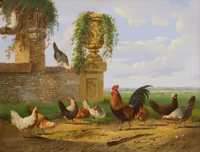 Albertus Verhoesen | Poultry in a Dutch landscape, oil on panel, 39.2 x 51.1 cm, signed l.r.