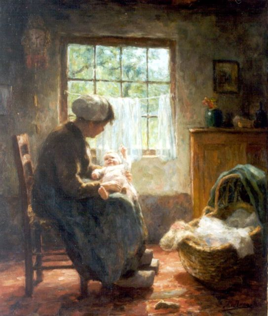 Evert Pieters | Motherly love, oil on canvas, 60.8 x 51.1 cm, signed l.r.
