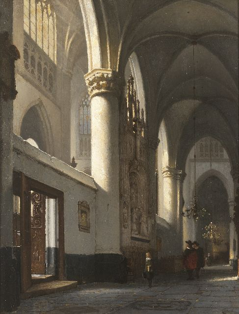 Jan Jacob Schenkel | The interior of the Grote Kerk in Breda with the memorial stone of Engelbert I of Nassau, oil on panel, 62.4 x 48.3 cm