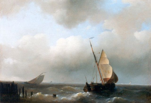 Abraham Hulk | Sailing vessels in full sail near the coast, oil on panel, 15.3 x 20.9 cm