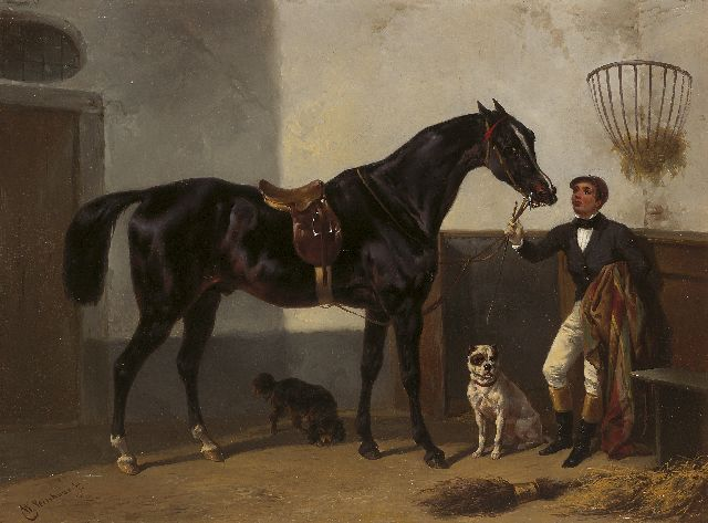 Wouterus Verschuur | A jockey with a racehorse in a stable, oil on panel, 27.7 x 37.2 cm, signed l.l.
