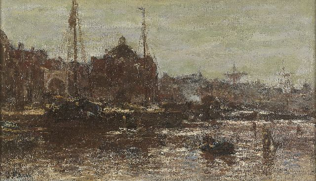 Jacob Maris | A view of Amsterdam, with the Koepelkerk, oil on canvas, 22.3 x 37.8 cm, signed l.l.