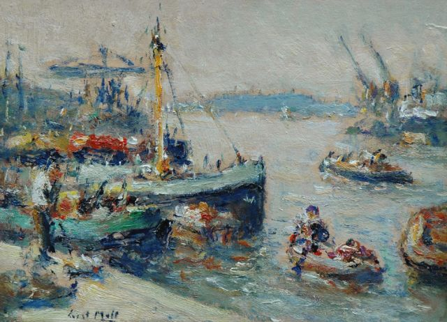 Evert Moll | Busy harbour scene, Rotterdam, oil on board laid down on panel, 24.8 x 33.5 cm, signed l.l.