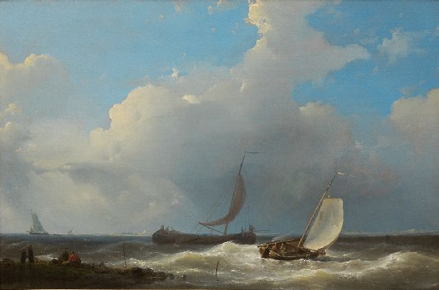 Abraham Hulk | Sailing boats near the coast, oil on panel, 21.5 x 32.3 cm, signed l.l. and dated 1849