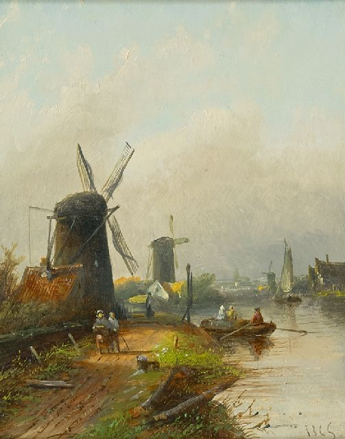 Jacob Jan Coenraad Spohler | Dutch river landscape, oil on panel, 20.4 x 16.0 cm, signed l.r. with initials