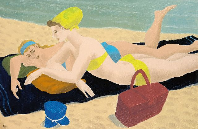 Ferdinand Erfmann | Sunbathing on the beach, oil on canvas, 40.3 x 60.3 cm, signed l.l. with initials and dated 1967