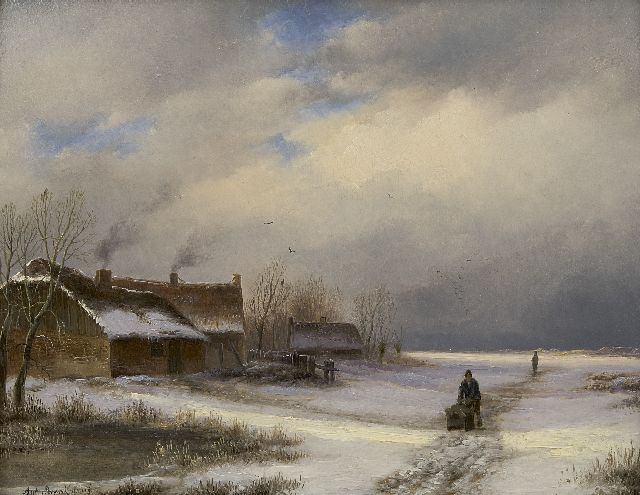 Anton Braakman | Farmhouse in the snow, oil on panel, 18.5 x 23.1 cm, signed l.l.