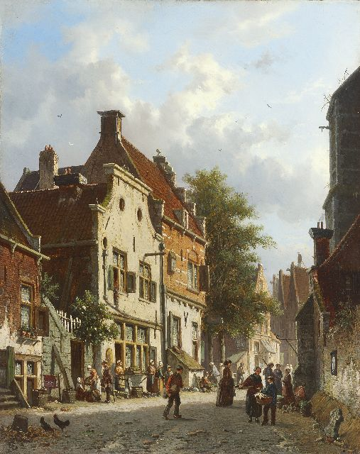 Adrianus Eversen | Busy Dutch street scene, oil on panel, 38.6 x 30.8 cm, signed l.l. with monogram