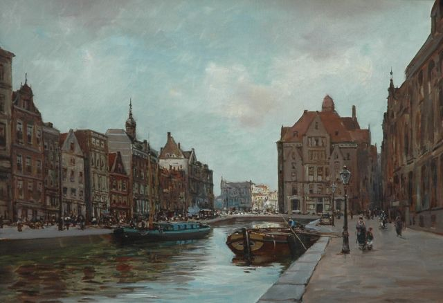 Anton Dirckx | View of the Rokin, Amsterdam, oil on canvas, 50.1 x 70.4 cm, signed l.r.