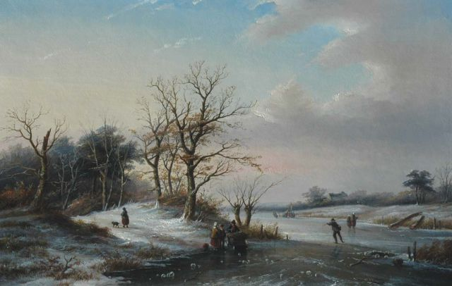 Jan Jacob Spohler | Winter landscape with skaters on the ice, oil on panel, 57.1 x 88.1 cm