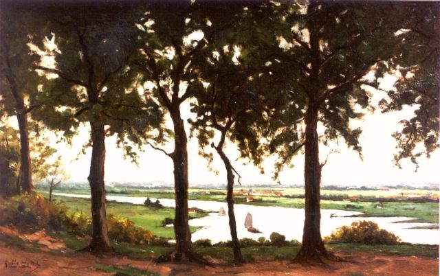 Henk Dekker | A view of the river Rijn, oil on canvas, 40.0 x 60.8 cm, signed l.l. and dated 1923