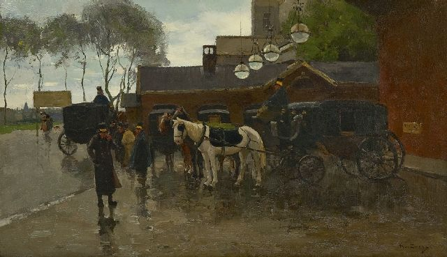 Willem de Zwart | Coaches near the station Hollandse Spoor, The Hague, oil on canvas, 46.4 x 79.9 cm, signed l.r.