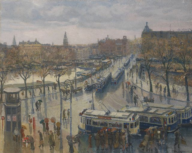 Toon Pluijmers | The Stationsplein and Damrak, Amsterdam, oil on canvas, 80.5 x 100.0 cm, signed l.r. and dated '41