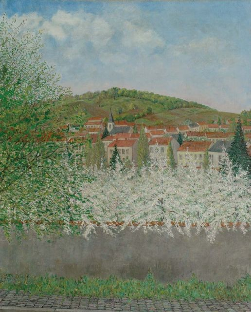 Jo Lodeizen | View on a village in a hilly landscape, oil on canvas, 80.4 x 65.2 cm, signed l.r.