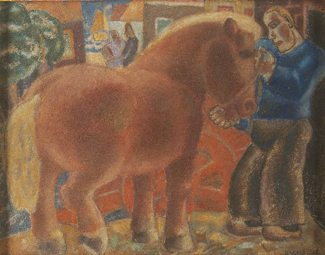 Leo Gestel | Farmer and horse, pastel on paper, 25.8 x 32.8 cm, signed l.r. and dated '28