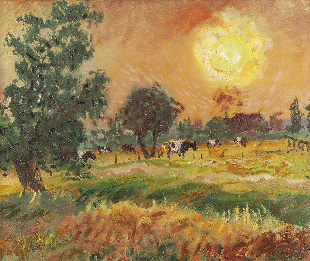 Jan Altink | Cows in the evening sun, oil on canvas, 50.0 x 60.3 cm, signed l.r. and dated '41