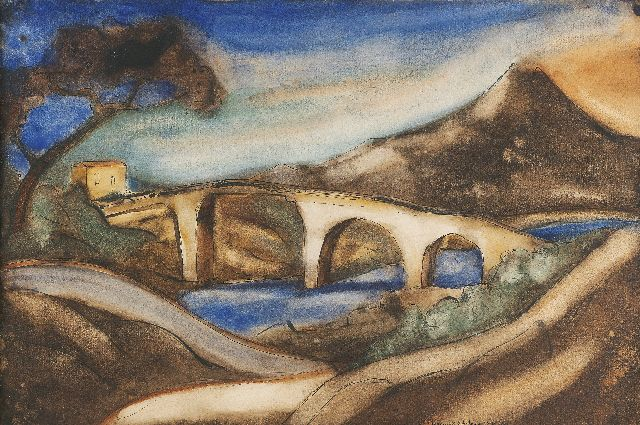 Lodewijk Schelfhout | The bridge, ink, chalk and watercolour on paper, 34.4 x 51.0 cm, signed l.r. and painted '1920 Corse'