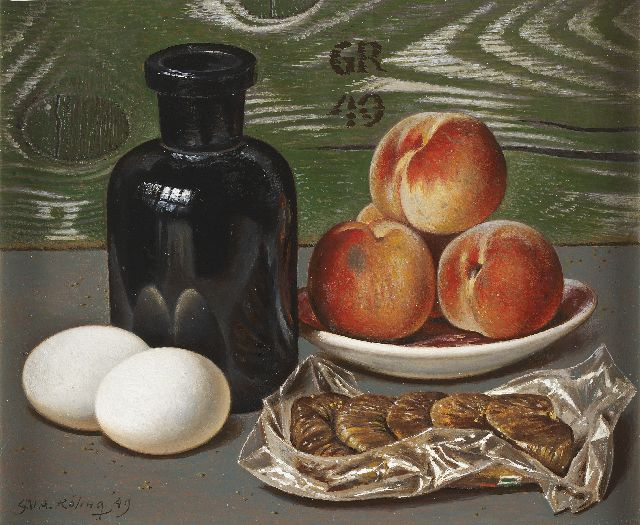 Gé Röling | Still life with peaches, eggs and figs, oil on board, 25.0 x 30.1 cm, signed l.l. and on the reverse and u.m. with initials and dated '49 l.l., u.c. and on the rear side