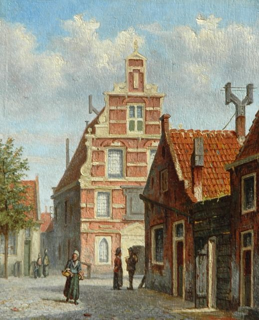 Johannes Jacobus Mittertreiner | Dutch street scene with figures, oil on panel, 16.9 x 13.9 cm, signed l.r.
