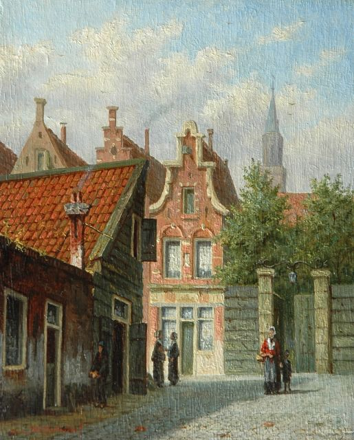 Johannes Jacobus Mittertreiner | Dutch street scene, oil on panel, 17.0 x 13.8 cm, signed l.l.