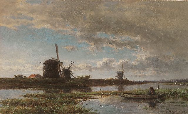 Roelofs W.  | Anglers in a polder landscape, oil on panel, 24.2 x 40.4 cm, signed l.r. and dated '56