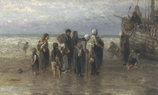 Jozef Israëls | Unloading the catch, oil on canvas, 43.0 x 70.5 cm, signed l.l.