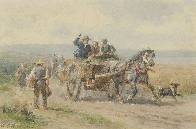 Willem Carel Nakken | Going to the market, watercolour on paper, 16.2 x 24.5 cm, signed l.l.