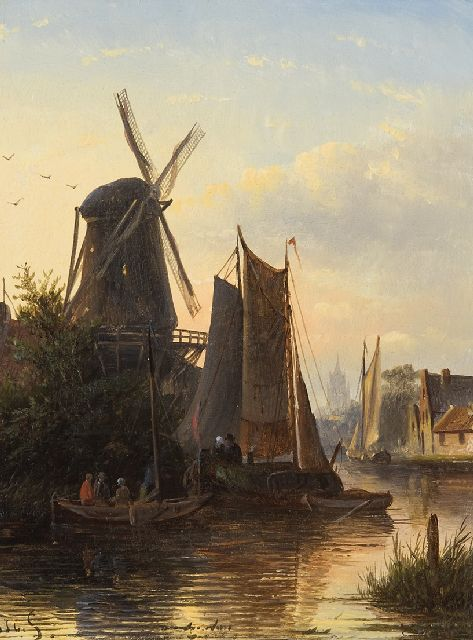 Jacob Jan Coenraad Spohler | Moored sailing boats near a mill, oil on panel, 22.0 x 17.0 cm, signed l.l. with initials
