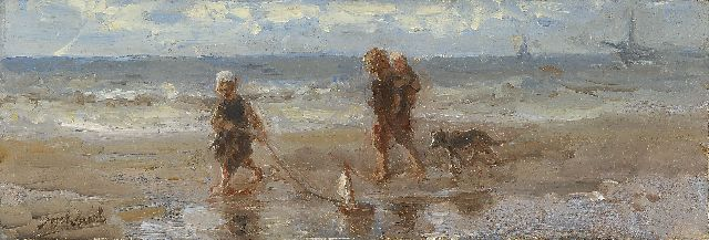 Jozef Israëls | Children of the sea, oil on panel, 12.9 x 37.6 cm, signed l.l.