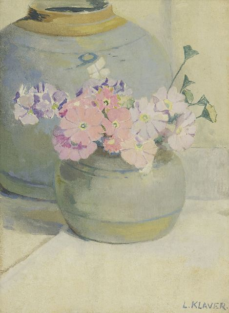 Klaver L.  | Flowers in a Cologne pot, oil on panel 24.7 x 18.4 cm, signed l.r.
