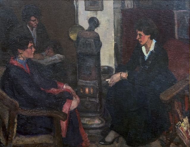 Cor Noltee | Three women in the painter's studio, oil on canvas, 70.7 x 90.4 cm, signed l.r.