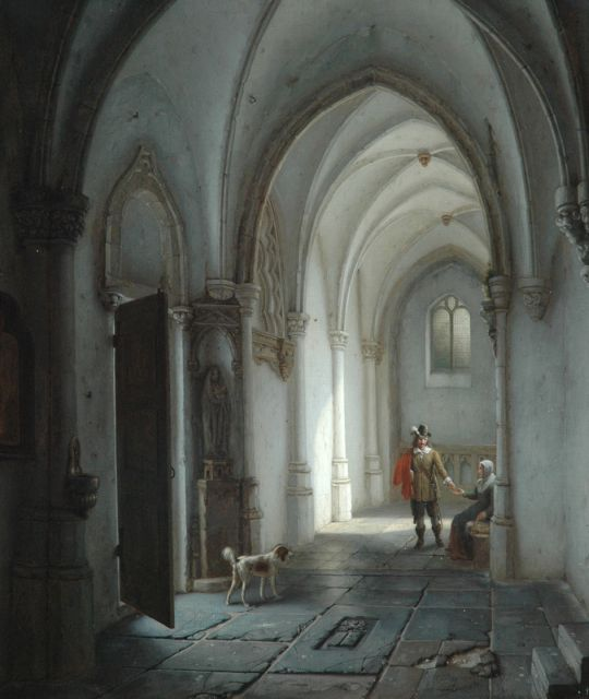 George Gillis Haanen | Church interior with a man and a beggar, oil on panel, 48.1 x 40.9 cm, signed l.r. and dated 1839