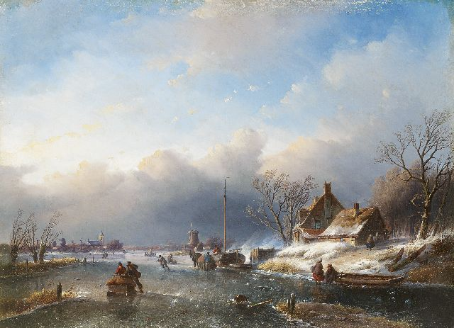 Jan Jacob Spohler | A winter's landscape with figures on the ice, oil on canvas, 59.0 x 80.6 cm, signed l.l. remainder of signature with initials