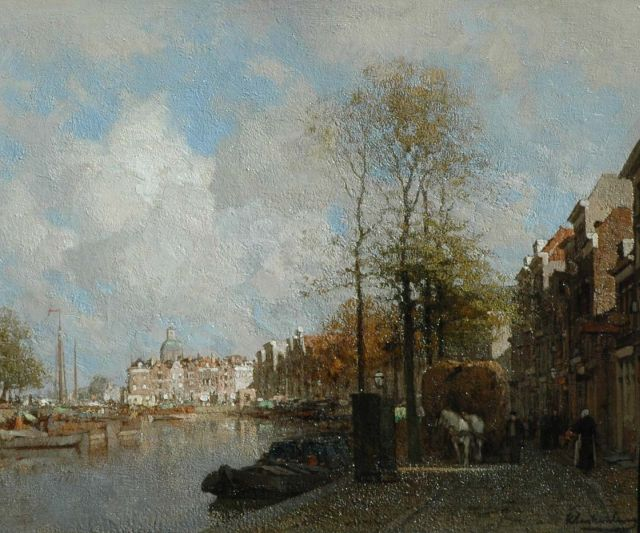 Karel Klinkenberg | A view on the Galgewater, Leiden, oil on canvas, 39.1 x 47.2 cm, signed l.r.