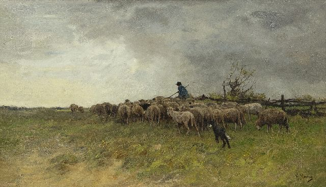 Mauve A.  | Landscape with shepherd and a flock of sheep, oil on canvas 38.6 x 66.5 cm, signed l.r.