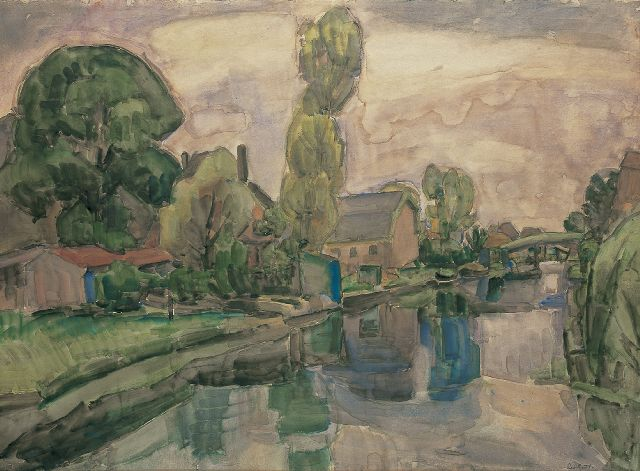 Leo Gestel | A view on Koedijk, watercolour on paper, 72.0 x 98.0 cm, signed l.r. and dated 'Koedijk 1919'