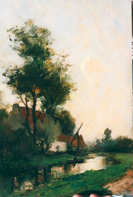 Frits Mondriaan | Farm along a waterway, oil on panel, 36.0 x 24.3 cm, signed l.l.