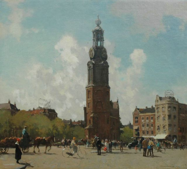Cornelis Vreedenburgh | City life at the Munt, Amsterdam, oil on canvas, 53.2 x 60.0 cm, signed l.r. and dated 1924