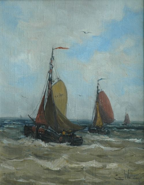 Kees van Waning | Barges at sea, oil on canvas, 35.3 x 28.1 cm, signed l.r.