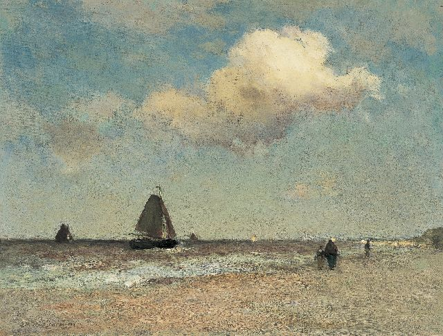 Jan Hendrik Weissenbruch | The beach at Scheveningen, oil on canvas, 38.3 x 50.6 cm, signed l.l. and painted ca. 1887