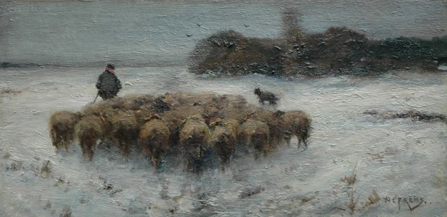 Martinus Jacobus Nefkens | Sheep at pasture, oil on paper laid down on panel, 24.3 x 48.6 cm, signed l.r.