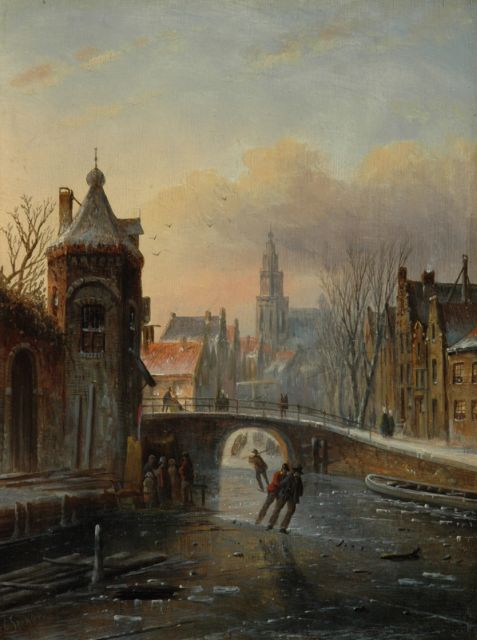 Jacob Jan Coenraad Spohler | Skaters under a bridge, oil on panel, 22.1 x 16.7 cm, signed l.l.